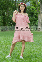 No.332  - Size XS-7X Pink Bohemian Open Shoulder Wide Sleeve Tunic Mini Dress Plus Size Women's Casual Dress