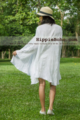 No.339  - Size XS-5X White Hippie Boho Bohemian Gypsy Casual Tops Jacket Swing Cardigan Sweater Plus Size Clothing