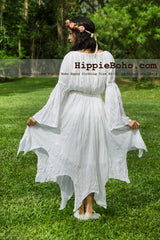 No.340 - Size XS-7X Hippie Boho Pixie Gypsy Bohemian Bell Sleeve White Pixie Wedding Maxi Dress Plus Size Women's Long Dress