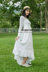 No.349 - Size XS-5X Hippie Boho Gypsy Bohemian Bell Wide Sleeve White Maxi Dress Plus Size Women's Long Dress