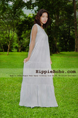 No.005  - Plus Size White Cotton Maxi Long Dress Bohemian Summer Clothing Tiered Full Length Women's Dress Hippie Boho Gypsy Style