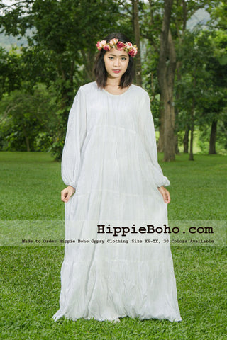 No.355  - Plus Size White Cotton Long Sleeve Maxi Long Dress Bohemian Summer Clothing Tiered Full Length Women's Dress Hippie Boho Gypsy Style