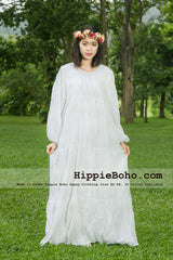No.355 - Size XS-7X Hippie Boho Gypsy Style Plus Size Women's Dress White Cotton Long Sleeve Full Length  Maxi Dress Bohemian Attire