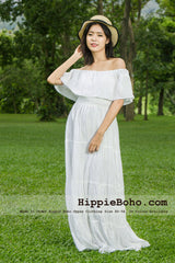 No.359 - Size XS,S,M,L,1X,2X,3X,4X,5X,6X, 7X Hippie Bohemian Gypsy Simple Plus Size Curvy Wedding Dress Summer Clothing
