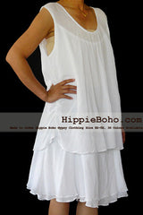 No.040  - Size XS-7X Hippie Boho Bohemian Gypsy White Tunic Plus Size Dress Clothing Summer Sundress