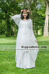 No.041 - Size XS-7X Hippie Boho Gypsy Bohemian Bell Sleeve Pixie White Maxi Dress Plus Size Women's Long Dress