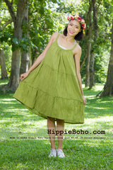 No.045 - Size XS-5X Handmade Hippie Boho Clothing Gypsy Green Mini Plus Size Strap Dress Women's Clothing