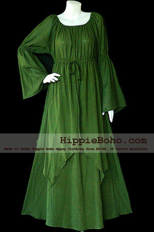No.041 - Size XS-5X Hippie Boho Clothing Gypsy Long Sleeve Bell Sleeve Olive Green Plus Size Costume Full Length Maxi Dress