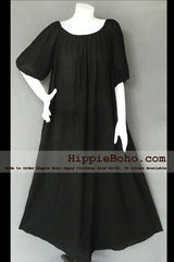 No.042  - XS-7X Hippie Boho Bohemian Gypsy Black Peasant Tunic Plus Size Maternity Maxi Dress Lightweight Cotton