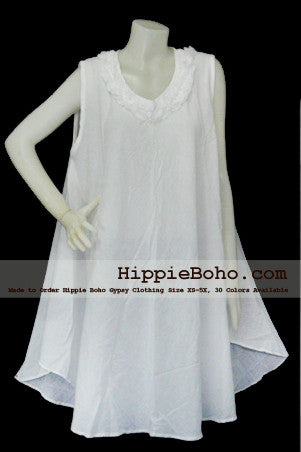 No.044  - XS-5X Hippie Boho Bohemian Gypsy White Tunic Plus Size Maternity Sleeveless Dress Vest Top  Lightweight Cotton