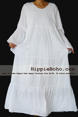 No.457  - Size XS-5X Hippie Boho Bohemian Gypsy White Long Sleeve Plus Size Sundress Tiered Peasant Full Skirt