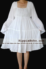 No.458 - Size XS-7X Hippie Bohemian Gypsy White Peasant Bell Long Sleeve Plus Size Curvy Sundress Tiered Mini Dress