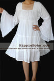 No.458  - Size XS-5X Hippie Boho Bohemian Gypsy White Peasant Bell Long Sleeve Plus Size Sundress Tiered Mini Skirt