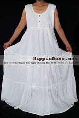 No.459  - Plus Size White Cotton Maxi Long Dress Bohemian Summer Clothing Tiered Full Length Women's Dress Hippie Boho Gypsy Style