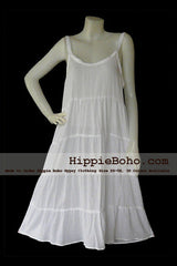No.045 - Size XS-5X Handmade Hippie Boho Clothing Gypsy White Mini Plus Size Strap Dress Women's Clothing