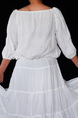 No.460  - Size XS-5X White Hippie Boho Bohemian Gypsy Casual Peasant Tops  Blouse 3/4 Sleeve Plus Size Clothing