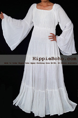 No.462 - XS-5X White Plus Size Women's Clothing Bohemian Peasant Bell Long Sleeve Tiered Maxi Dress Boho Gypsy Hippie Style