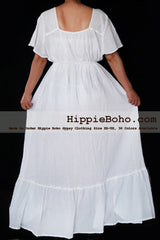 No.463- Size XS-7X Handmade Hippie Boho Gypsy Bohemian Bell Wide Sleeve White Maxi Dress Plus Size Women's Long Dress