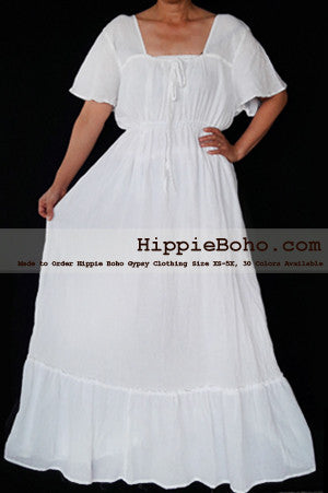 No.463- Size XS-5X Handmade Hippie Boho Gypsy Bohemian Bell Wide Sleeve White Maxi Dress Plus Size Women's Long Dress