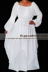 No.464 - Size XS-7X Hippie Boho Clothing Gypsy Long Sleeve White Plus Size Costume Full Length Maxi Dress
