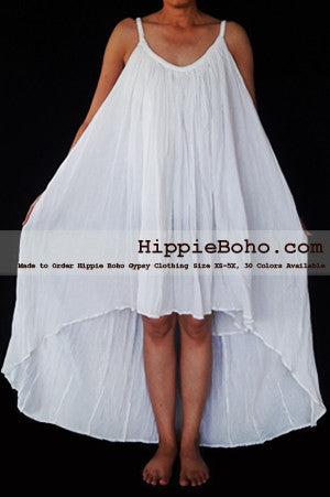 No.466- Size XS-7X Hippie Boho Clothing Gypsy Asymmetrical White Plus Size Strap Summer Maxi Dress, S,M,L,1X,2X,3X,4X,5X Dress