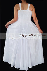 No.468- Size XS-7X Hippie Boho Clothing Gypsy White Plus Size Strap Summer Maxi Dress, S,M,L,1X,2X,3X,4X,5X Dress