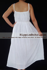 No.470- Size XS-5X Hippie Boho Clothing Gypsy White Plus Size Strap Summer Maxi Dress, S,M,L,1X,2X,3X,4X,5X Dress