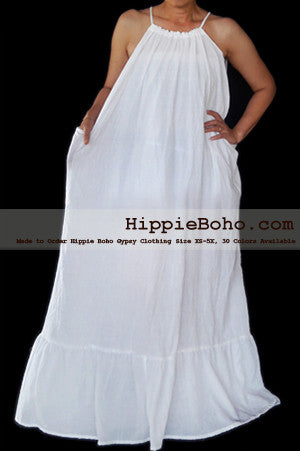 No.472- Size XS-5X Hippie Boho Clothing Gypsy White Plus Size Strap Summer Maxi Dress, S,M,L,1X,2X,3X,4X,5X Dress