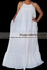No.472- Size XS-7X Hippie Boho Clothing Gypsy White Plus Size Strap Summer Maxi Dress, S,M,L,1X,2X,3X,4X,5X,6X,7X Dress