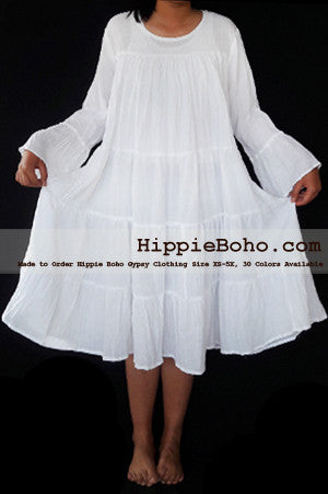 No.473  - Size XS-5X Hippie Boho Bohemian Gypsy White Peasant Bell Long Sleeve Plus Size Sundress Tiered Mini Skirt