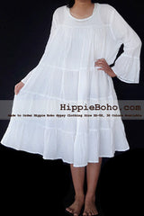 No.473  - Size XS-7X Hippie Boho Bohemian Gypsy White Peasant Bell Long Sleeve Plus Size Sundress Tiered Mini Skirt