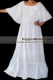 No.476- Size XS-5X Handmade Hippie Boho Gypsy Bohemian Bell Wide Sleeve White Maxi Dress Plus Size Women's Long Dress