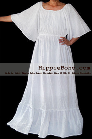 No.476- Size XS-7X Handmade Hippie Boho Gypsy Bohemian Bell Wide Sleeve White Maxi Dress Plus Size Women's Long Dress