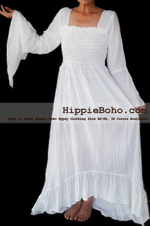 No.349 - Size XS-7X Hippie Boho Gypsy Bohemian Bell Wide Sleeve White Maxi Dress Plus Size Women's Long Dress