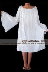 No.478  - XS-7X Hippie Boho Bohemian Gypsy White Peasant Long Sleeve Bell Sleeve Tunic Plus Size Maternity Dress Lightweight Cotton