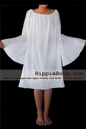 No.478  - XS-5X Hippie Boho Bohemian Gypsy White Peasant Long Sleeve Bell Sleeve Tunic Plus Size Maternity Dress Lightweight Cotton