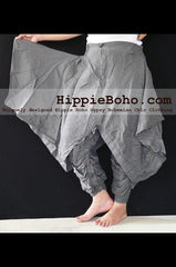 No.516 - Size M,L,XL Handmade Luxurious Gray Mixed Silk Funky Long Pants Trousers Hippie Boho Gypsy