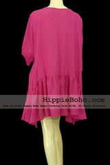 No.051- Size XS-7X Boho Bohemian Gypsy Tunic Top Clothing Hot Pink 3/4 Sleeve Asymmetrical Hem Plus Size Women's Dress Lightweight Cotton