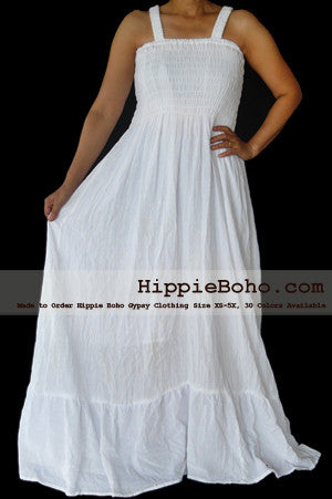 No.052 - Size XS-5X Hippie Boho Clothing Gypsy White Plus Size Strap Summer Maxi Dress, S,M,L,1X,2X,3X,4X,5X Curvy Dress