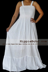 No.052 - Size XS-7X Hippie Boho Clothing Gypsy White Plus Size Strap Summer Maxi Dress, S,M,L,1X,2X,3X,4X,5X Curvy Dress