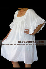 No.054 - White Gauze Cotton Peasant Top Tunic Dress Plus Size Curve Women's Clothing Hippie Gypsy Boho Style
