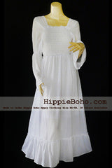 No.062 - Size XS-7X Hippie Boho Bohemian Gypsy White Long Sleeve Plus Size Peasant Maxi Long Dress