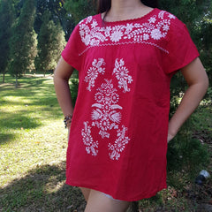 No.010 Maxican Embroidered Tops Blouse Handmade Red Cotton with White Embroidery Cap Sleeves Boho Gypsy Hippie Style Attire
