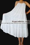 No.073 - Size XS-5X Hippie Boho Clothing Gypsy White Curvy Plus Size Strap Summer Maxi Dress, S,M,L,1X,2X,3X,4X,5X Dress