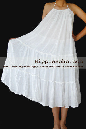 No.073 - Size XS-7X Hippie Boho Clothing Gypsy White Curvy Plus Size Strap Summer Maxi Dress XS,S,M,L,1X,2X,3X,4X,5X,6X,7X