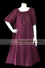 No.007  - XS-5X Hippie Boho Bohemian Gypsy Purple Peasant Tunic Plus Size Maternity Dress Lightweight Cotton