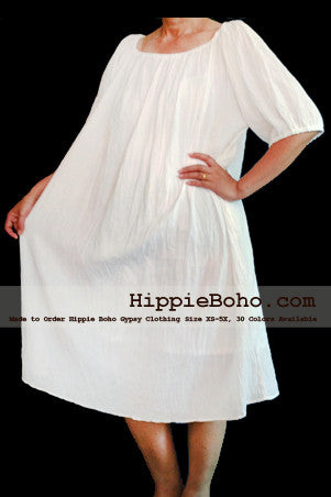 No.007  - XS-5X Hippie Boho Bohemian Gypsy White Peasant Tunic Plus Size Maternity Dress Lightweight Cotton