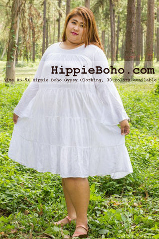 No.473  - Plus Size Big Size Curvy XS-7X Hippie Boho Bohemian Gypsy White Peasant Bell Long Sleeve Plus Size Sundress Tiered Mini Skirt