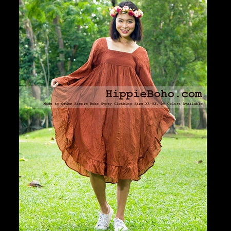 No.454 - XS-7X Hippie Boho Bohemian Gypsy Brick Butterfly Sleeve Tunic Plus Size Maternity Dress Lightweight Cotton