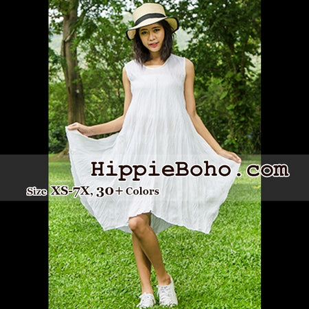 No.344  - Size XS-7X White Hippie Boho Bohemian Gypsy Swing Tunic Plus Size Dress Clothing Summer Sundress